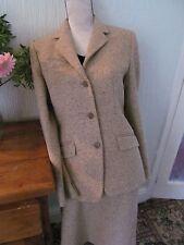 vintage harrods oatmeal tweed all wool skirt suit size 10-12