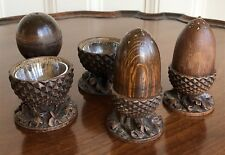 A Black Forest Carved Wood Acorn Condiment Set, c.1900. With Glass Liners.