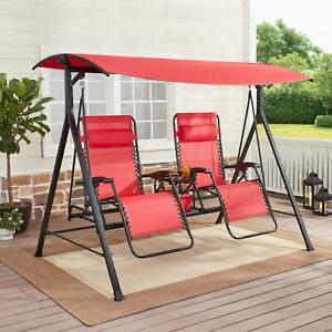 Zero Gravity Outdoor Reclining Swing with Canopy Sturdy Steel 2 Seaters NEW