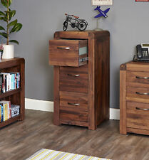 Shiro Premium Solid Walnut Dark Wood Tall Filing Cabinet With Drawers