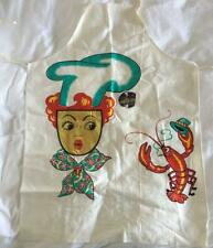VINTAGE BARTH & DREYFUSS BBQ APRON WHIMSICAL LOBSTER & LADY CHEF WITH PAPER TAG