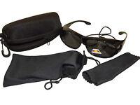 Sonnen-Überbrille UV 400 schwarz Polarisiert f. Brillenträger Polbrille im Set