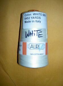 AURIfil 100% Cotton MAKO Machine Quilting Thread 50 weight 6452 yards WHITE