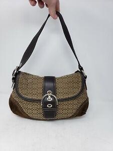 EUC Coach Soho H0749-F10926 Brown Canvas & Suede Small Shoulder Bag Purse