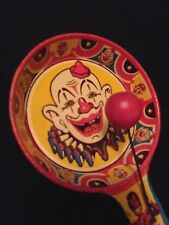 Vintage Tin Circus Clown Noisemaker - U.S. Metal Toy - Double Wooden Clappers