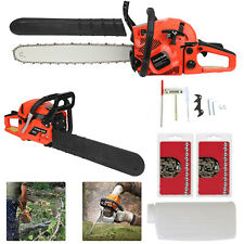 "58cc 20"" Petrol Chainsaw 3.4HP + 2 X Chains + Oil Bottles + Carrying Bag +More"