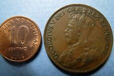 1919  Vintage CANADA KING GEORGE V ONE CENT LARGE BRONZE COIN, Fine Circulated