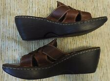 BORN HAND-CRAFTED  Brown Leather Wedge - Women's Sz 6 - Very Good!
