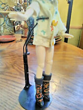 OOAK Handmade Painted Blk Leather Tiny BJD Blythe Tonner Fashion Doll Boots NEW