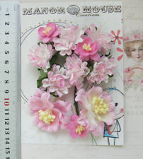 PINK Tones & WHITE 3 Styles 11 Paper Flowers 25-40mm across VC3