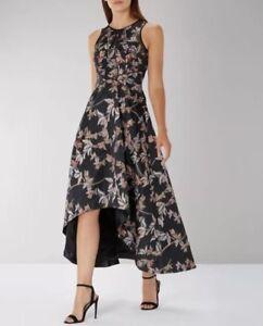 Coast Kath Black Floral Clipped Jacquard Long Dip Hem Flare Dress  RRP£189