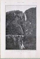 1903 PRINT ON THE BOMBAY & COA RAILWAY CASCADES WATERFALL