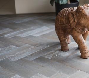 🗿SAMPLE! 18mm Grey Waxed Oiled Oak Herringbone Parquet Engineered Wood Flooring