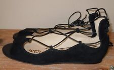 L@@K! BRAND NEW SAM EDELMAN BARBARA BLACK LEATHER SUEDE FLAT LACE UP SHOES 6.5