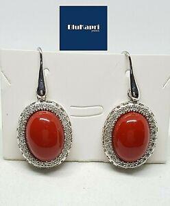 Orecchini in argento 925 pendenti rosso corallo