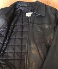 CALVIN KLEIN Italian Leather Jacket Bomber Oil Padded Insulated Coat RARE 8 10 S