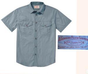 vintage CC FILSON feather cloth shirt short sleeve 100% cotton light blue mens L