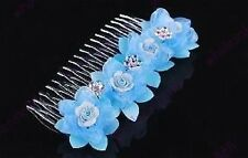 BEAUTIFUL RHINESTONE CRYSTAL & BLUE FLOWER TIARA/COMB- BRAND NEW T60