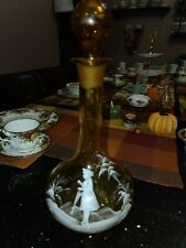 """Antique White Enameled Mary Gregory Girl Umbrella Amber Quilt Glass decanter 13"""""""