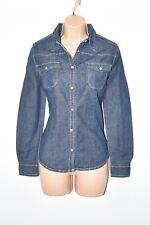 Blue Denim Stretch Long Sleeve Semi Fitted Women's Jeans Shirt Size UK8