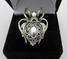 Vintage Sterling Silver Spider Insect Ring Secret Compartment 9.1 Grams Sz 8.75