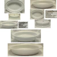 Set 2 Crate & Barrel White Porcelain Oblong Oval Nesting Baking Casserole Dishes