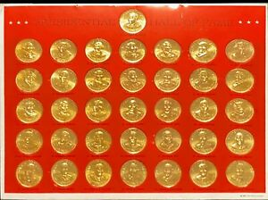 1968 Franklin Mint Presidential Hall of Fame Brass 36 Coin Set Washington -Nixon