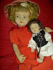 Rare antique jtd. felt cloth, Alma Italy doll & small B.Altman 1920s felt child