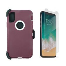 For iPhone XS Max Defender Case Cover W/Screen (Clip Fits Otterbox) Plum White