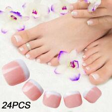 24x French Mainicure Full Cover Glue On Square Oval False Nails & Toe Nails UK
