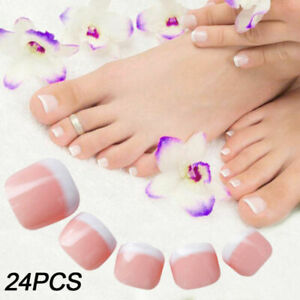 24x French Mainicure Full Cover Glue On Square Oval False Nails & Toe Nails UK
