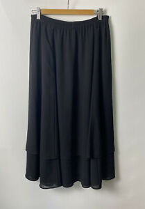 Précis Petite Women's Skirt Size L Black Elasticated Waist Lined Layered Summer