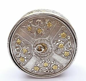 1930's Chinese Gilt Solid Silver Weaving Basket Box Flower