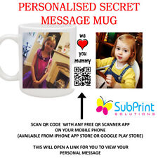QR Code Secret Message Personalised Printed Mug,Any Image,Logo,name,text,Video