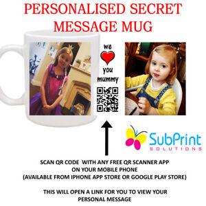 QR Code Secret Message Personalised Printed Mug,Any Image,Logo,name,text,Video