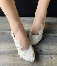 Lace white ivory Sequins Wedding shoes Bridal flats low high heel pump size 5-12