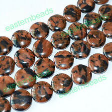 """14mm Blue & Goldstone Flat Round Coin Loose Beads for DIY Jewelry Making 14.5"""""""