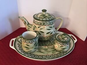 TEMPTATIONS ~ OLD WORLD TEA SET ~ TEA POT,SUGAR W/LID & CREAMER & TRAY Green