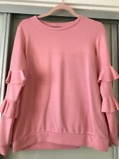 Dorothy Perkins Pink Sweatshirt With Frilly Sleeves, Size 10