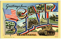 Greetings From CAMP BEALE California Linen Postcard BIG LETTER Litho Air Force