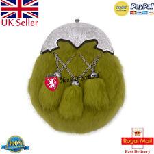 Scottish Kilt Sporran Irish Green Rabbit Fur Shamrock Cantel Chrome Finish/Kilts