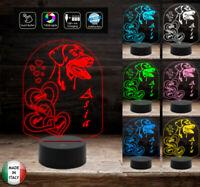 LAMPADA LED personalizzata con cuori e cane Idea regalo Natale Anniversario