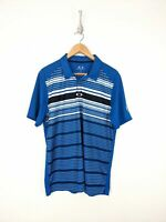 Oakley Hydrolix Polo Shirt Men Large Blue White Striped Regular Fit Golf