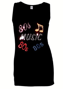 EIGHTIES 80s MUSIC  VESTS TANK TOPS ( RHINESTUD DESIGN )  all sizes 8 to 16