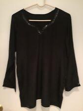 Black Crepe Handmade PURE SILK TOP BLOUSE KURTA With Black Sequins TUNIC Size L
