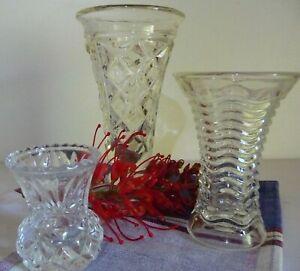 Depression 1930s Glass Collectable Vases Bundle Deal Lot