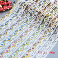 Wholesale 10yards Pretty 30MM Width Handcrafts Embroidered Lace Ribbon Net Lace
