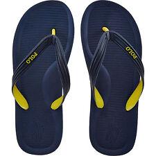 POLO RALPH LAUREN Whittlebury Flip Flops. Navy - Yellow. Size 7.