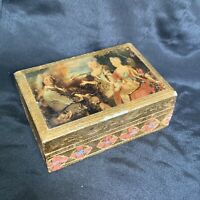 "Vintage Italian Florentine Gold Gilt Box with With Art Print Decor 4"" 3"" x 1.5"""