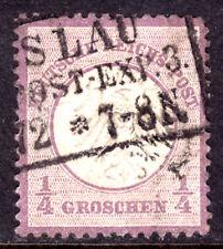 GERMANY #1 ¼gr VIOLET, 1872 EMBOSSED, VF, USED
